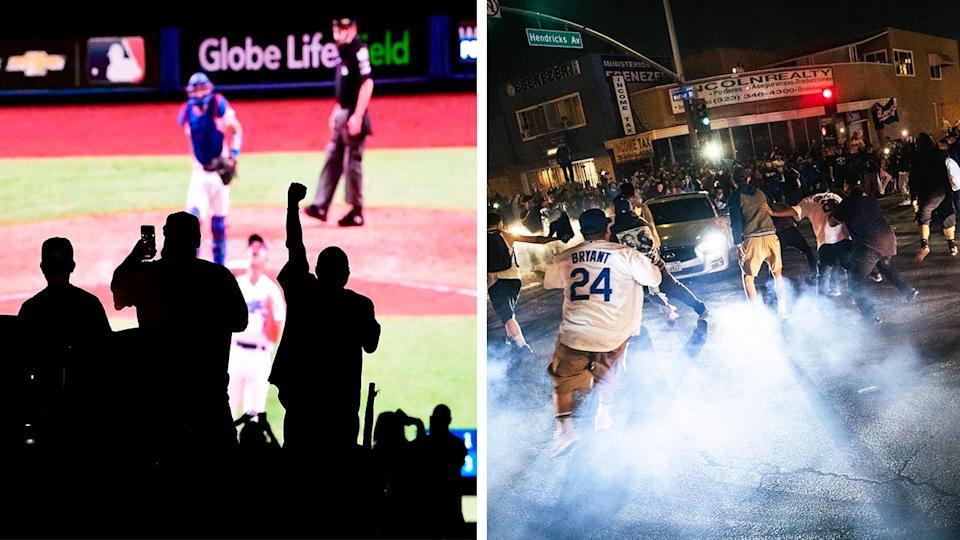 Dodgers fans celebrating on the street (pictured right) and celebrating after Dodgers won the World Series (pictured left).