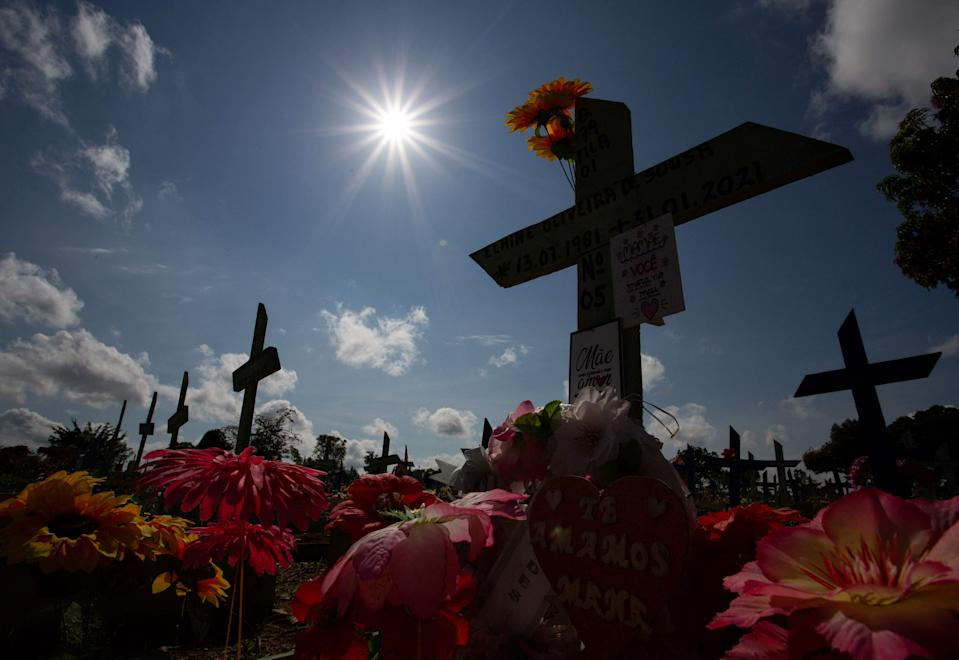 A graveyard for Covid-19 victims at the Senhora cemetery in Manaus (AFP via Getty Images)
