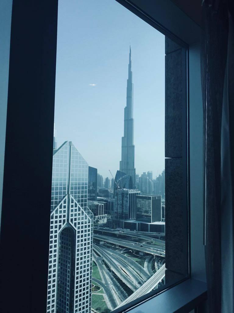 The view from my hotel room featuring the breathtaking Burj Khalifa.