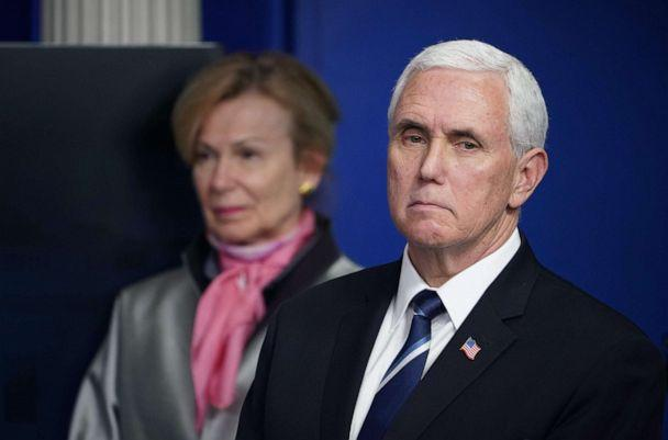 PHOTO: Response coordinator for White House Coronavirus Task Force Deborah Birx and Vice President Mike Pence listen during the daily briefing on the novel coronavirus in the Brady Briefing Room at the White House on April 7, 2020, in Washington. (Mandel Ngan/AFP via Getty Images)