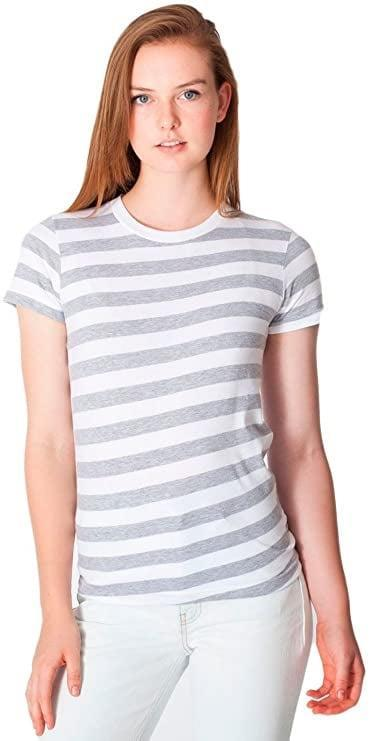 <p>There are plenty of solid colors of this <span>American Apparel Women Fine Jersey Short Sleeve Women's T-Shirt</span> ($3-$16) but the striped one is especially nice. </p>