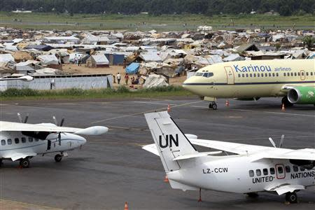 A general view shows a camp for displaced people at Mpoko airport in Bangui