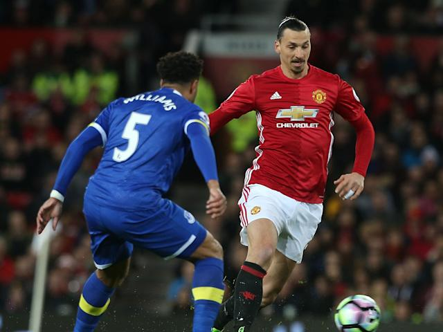 Zlatan Ibrahimovic carries the ball forward at Old Trafford: Getty