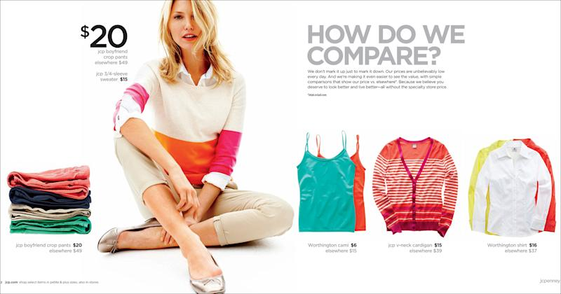 """This image provided by J.C. Penney shows the company's new advertising campaign. Penney is still embracing its """"fair and square"""" strategy as the cornerstone of its reinvention plan, and says the promotions will be targeted. But the latest tactic acknowledges that middle-income shoppers can't be weaned off sales. (AP Photo/J.C.Penney)"""