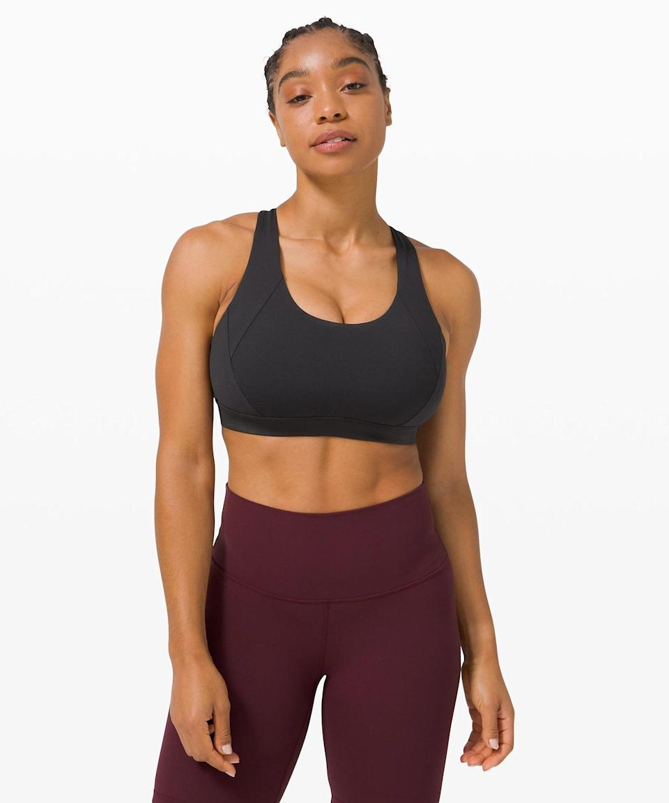 <p>You can't go wrong with this black <span>Lululemon Free to Be Elevated Bra</span> ($52). This is the one I have.</p>