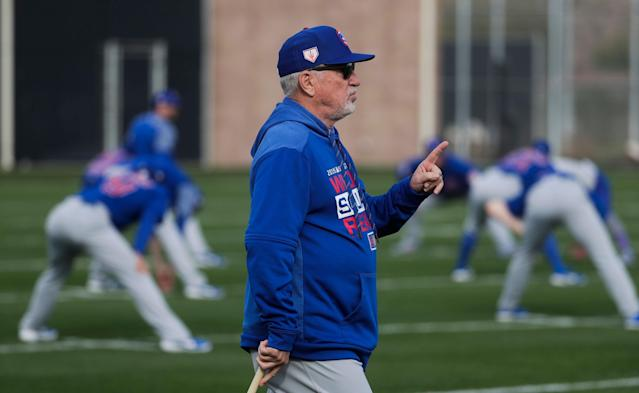 "Manager Joe Maddon is in the final season of his contract with the <a class=""link rapid-noclick-resp"" href=""/mlb/teams/chi-cubs/"" data-ylk=""slk:Cubs"">Cubs</a>. In the past four years under Maddon, the Cubs have averaged 96.7 wins a season. (AP)"