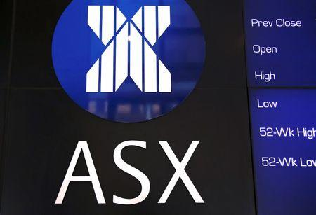 FILE PHOTO: A board displaying stock prices is adorned with the Australian Securities Exchange (ASX) logo in central Sydney, Australia, February 13, 2018. Picture taken February 13, 2018. REUTERS/David Gray