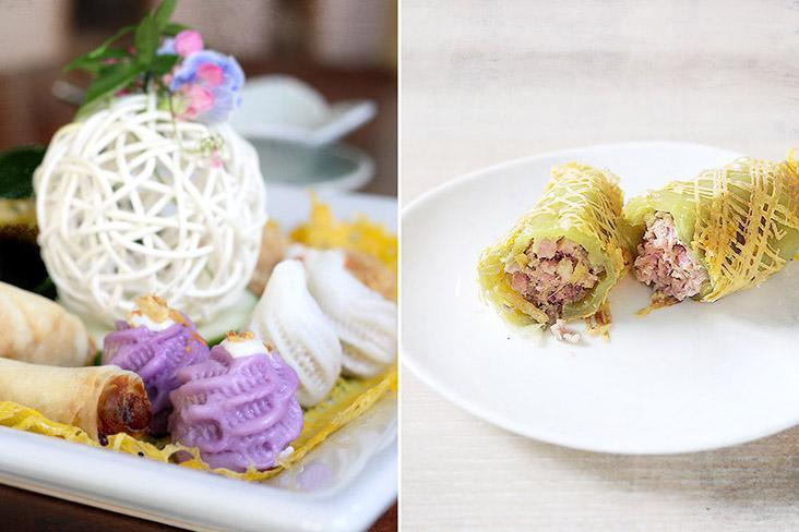 'Hor khai' (Thai egg net threads) is used to hold other foods, such as appetisers (left) or as a wrap for stuffed sweet peppers (right).