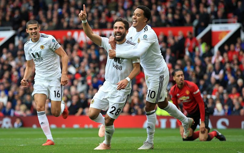 Joao Moutinho celebrates his well-taken second-half equaliser at Old Trafford - Offside