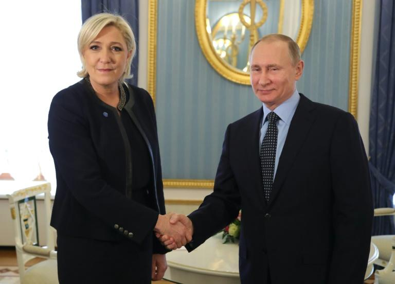 Russian President Vladimir Putin meets French presidential election candidate Marine Le Pen for talks at the Kremlin on March 24, 2017