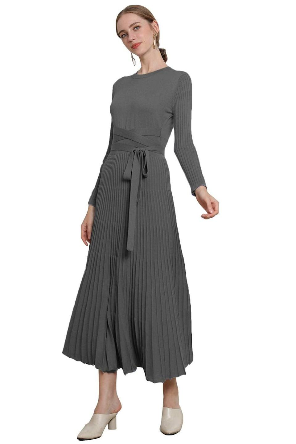 "<br><br><strong>RanRui</strong> Cashmere Pleated Sweater Dress, $, available at <a href=""https://amzn.to/370SqPO"" rel=""nofollow noopener"" target=""_blank"" data-ylk=""slk:Amazon"" class=""link rapid-noclick-resp"">Amazon</a>"
