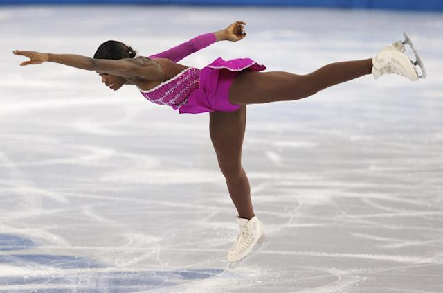 Mae Berenice Meite of France competes in the women's short program figure skating competition at the Iceberg Skating Palace during the 2014 Winter Olympics, Wednesday, Feb. 19, 2014, in Sochi, Russia. (AP Photo/Vadim Ghirda)