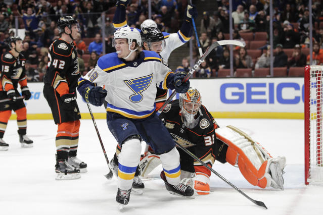 St. Louis Blues' Robert Thomas celebrates after scoring against Anaheim Ducks goaltender John Gibson during the third period of an NHL hockey game Wednesday, March 6, 2019, in Anaheim, Calif. The Blues won 5-4. (AP Photo/Jae C. Hong)