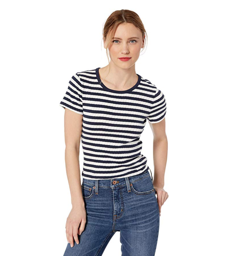 J.Crew Mercantile Womens Short Sleeve Striped Crewneck T-Shirt