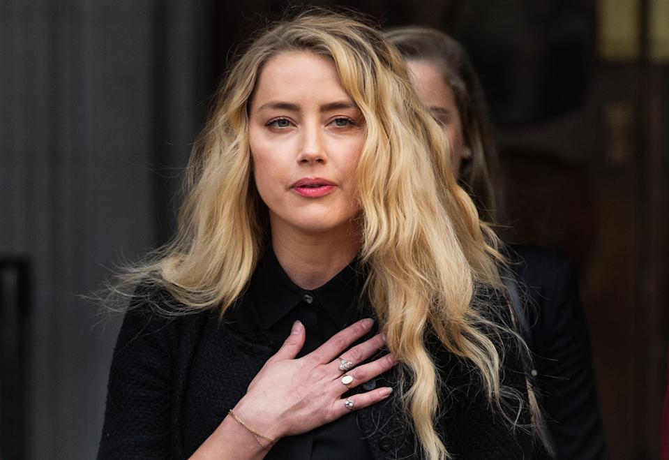 Amber Heard leaves the Royal Courts of Justice in London after the final day of Johnny Depp's libel trial.
