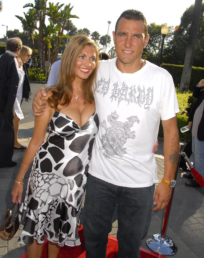 "LOS ANGELES, CA - JULY 29: Actor Vinnie Jones and wife Tanya Jones at the ""Stardust"" Los Angeles Premiere at the Paramount Studio Theatre on July 29, 2007 in Los Angeles, California. (Photo by Barry King/WireImage)"