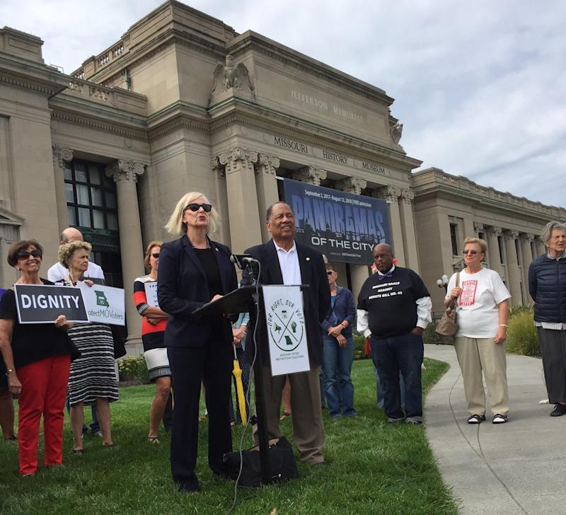 Missouri state Rep. Stacey Newman (D) speaks about voting rights during a news conference in front of the Missouri History Museum in St. Louis onTuesday.