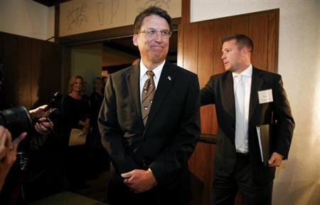North Carolina governor Pat McCrory arrives for a celebration for evangelist Billy Graham's 95th birthday in Asheville