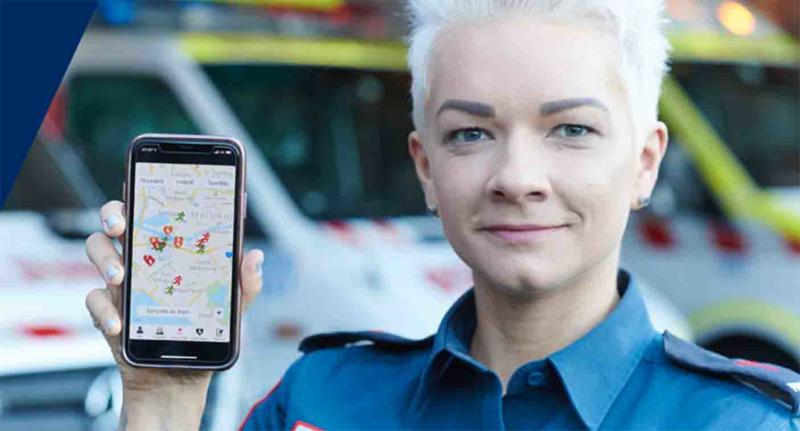 Paramedics will take over from a bystander who has begun CPR after being alerted to an emergency with the GoodSAM mobile phone app.