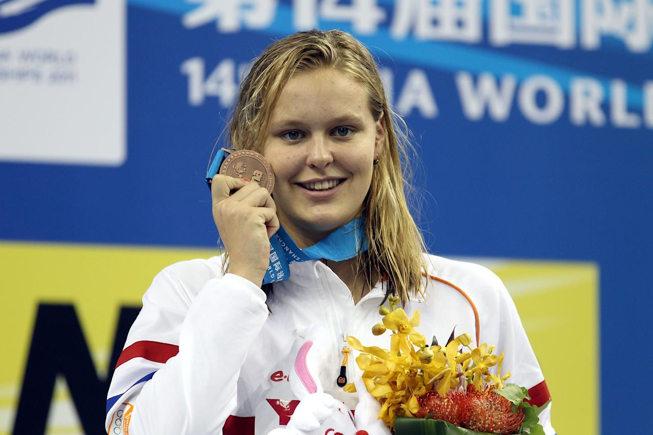 SHANGHAI, CHINA - JULY 30: Bronze medalist Sharon Van Rouwendaal of the Netherlands poses after the Women's 200m Backstroke Final during Day Fifteen of the 14th FINA World Championships at the Oriental Sports Center on July 30, 2011 in Shanghai, China.  (Photo by Clive Rose/Getty Images)