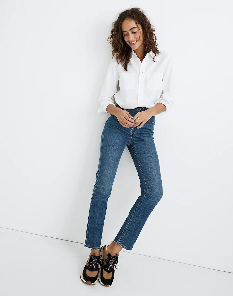 """<p>""""I hadn't owned stovepipe jeans since the '90s, but it turns out they're the perfect in-between silhouette I didn't realize I was missing. Madewell is my go-to for denim since they have just the right amount of stretch, and these <span>Madewell Stovepipe Jeans</span> ($99, originally $135) are hands down the most comfy pair. The high rise doesn't dig into your waist when sitting, and they're the perfect wash. The cropped length is also perfect for boots. I just bought my second pair!"""" - Joanna Douglas, Head of Native Content</p>"""