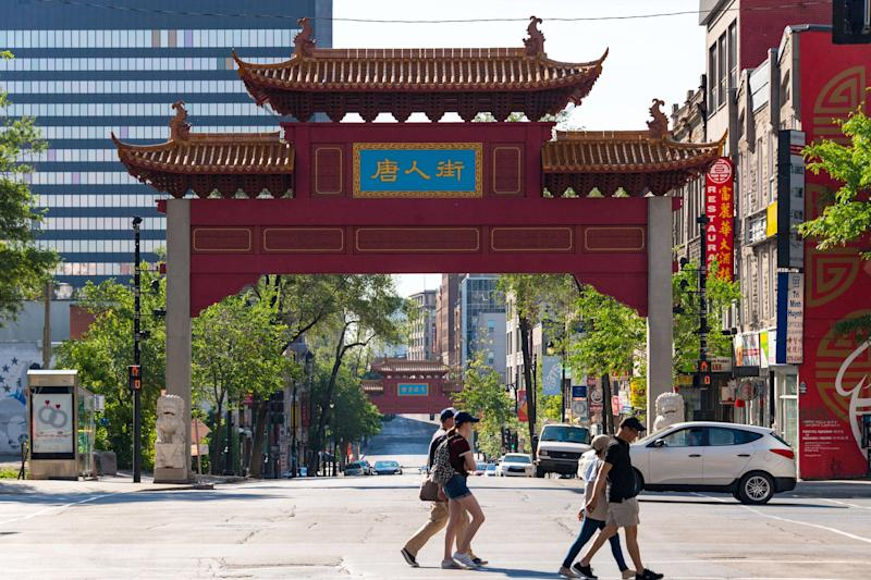 The lions that mark the entrance to Montreal's Chinatown, shown here June 11, 2017, were vandalized this spring. (Photo: Roberto Machado Noa/Getty Images)