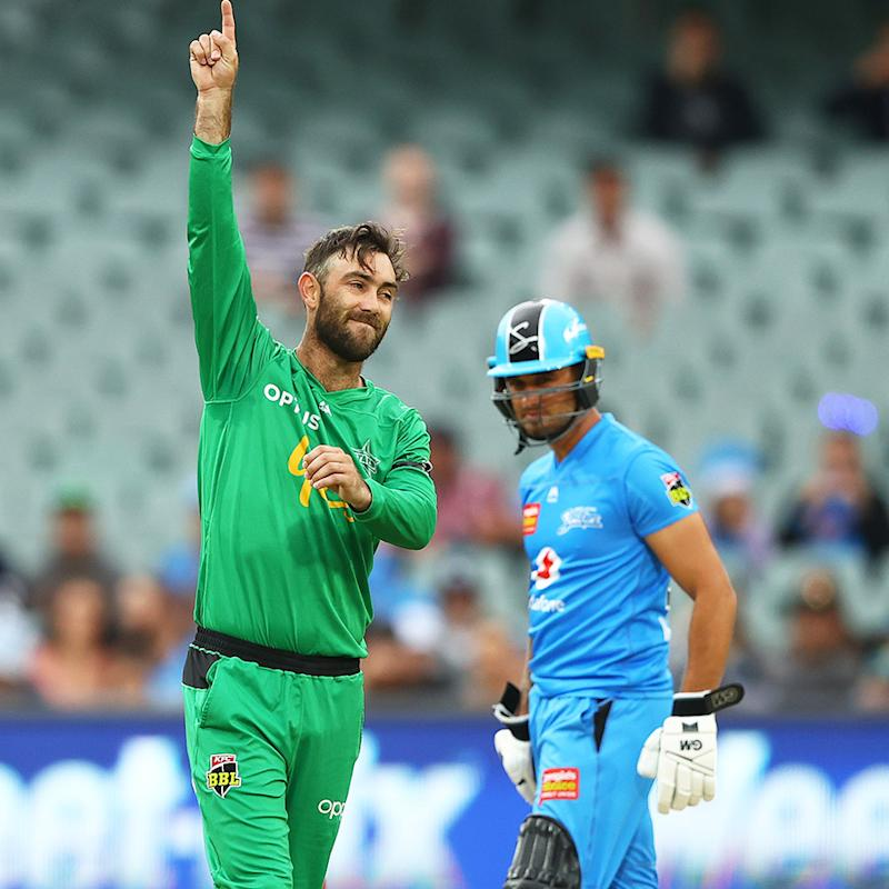 Glenn Maxwell, pictured here pointing to the heavens after dismissing Phil Salt in the Big Bash.