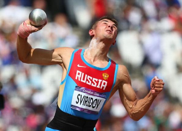 LONDON, ENGLAND - AUGUST 08:  Sergey Sviridov of Russia competes in the Men's Decathlon Shot Put on Day 12 of the London 2012 Olympic Games at Olympic Stadium on August 8, 2012 in London, England.  (Photo by Michael Steele/Getty Images)