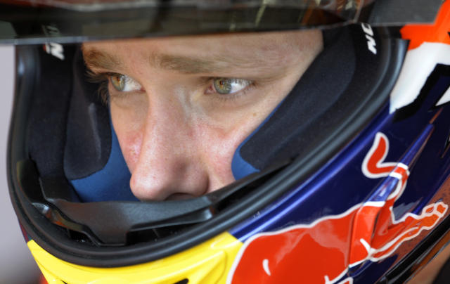 Repsol Honda team's Australian rider Casey Stoner leaves the pits during the Moto GP free practice 3 of the Portuguese Grand Prix in Estoril, outskirts of Lisbon, on May 5, 2012. AFP PHOTO / MIGUEL RIOPAMIGUEL RIOPA/AFP/GettyImages
