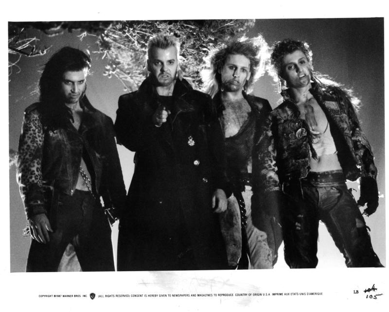 Billy Wirth, Kiefer Sutherland, Brooke McCarter and Alex Winter in a scene from the film 'The Lost Boys', 1987. (Photo by Warner Brothers/Getty Images)