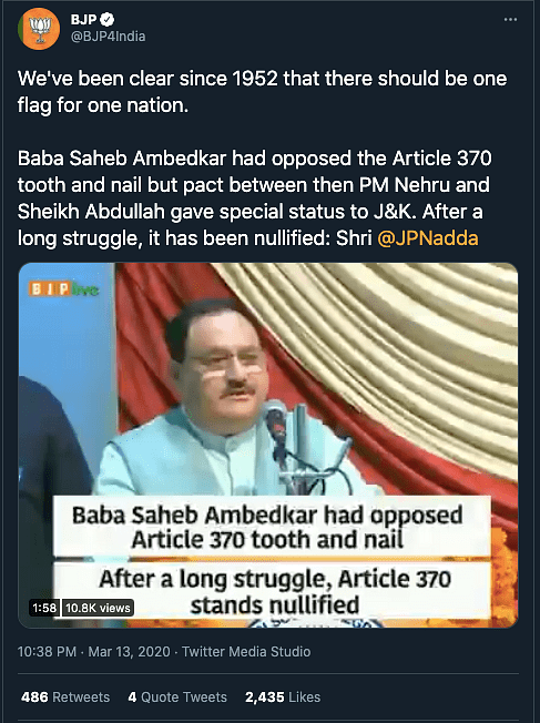 """This claim was debunked by <b>The Quint</b>. Read our fact-check <a href=""""https://www.thequint.com/news/webqoof/ambedkar-and-article-370-facts-or-propaganda-to-fit-the-current-discourse#read-more"""" rel=""""nofollow noopener"""" target=""""_blank"""" data-ylk=""""slk:here"""" class=""""link rapid-noclick-resp"""">here</a>."""