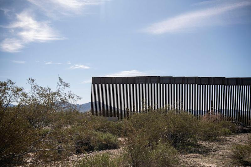 A new section of the Mexico border wall stands in the Organ Pipe Cactus National Monument in Lukeville, Arizona, on Jan. 7. | Carolyn Van Houten/The Washington Post via Getty