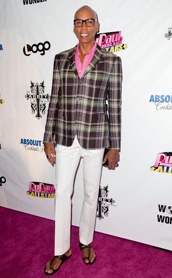 "RuPaul arrives at the ""RuPaul's Drag Race: All Stars"" Premiere Party at The Abbey on October 16, 2012 in West Hollywood, California."