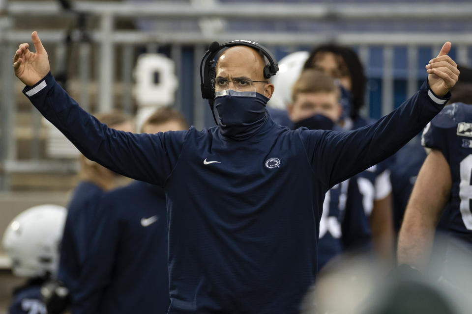 STATE COLLEGE, PA - DECEMBER 12: Head coach James Franklin of the Penn State Nittany Lions reacts after a touchdown against the Michigan State Spartans during the second half at Beaver Stadium on December 12, 2020 in State College, Pennsylvania. (Photo by Scott Taetsch/Getty Images)