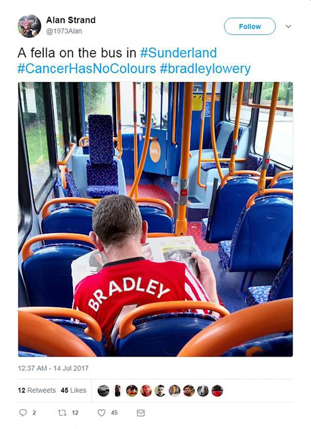 <p>Football fans took to social media to show support for Bradley </p>