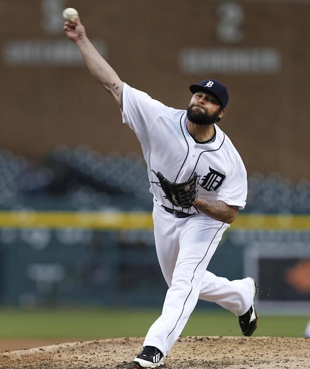 Detroit Tigers relief pitcher Joba Chamberlain throws against the Baltimore Orioles in the ninth inning of a baseball game in Detroit Friday, April 4, 2014. Detroit won 10-4. (AP Photo/Paul Sancya)