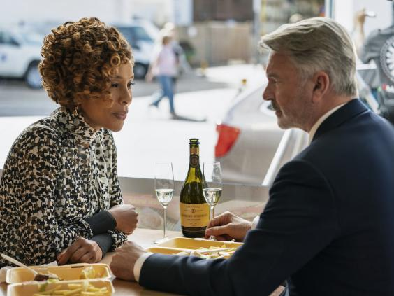 Sam Neill opposite Sophie Okonedo in 'Flack', which sees Neill reunite with 'The Piano' co-star Anna Paquin (Sky)