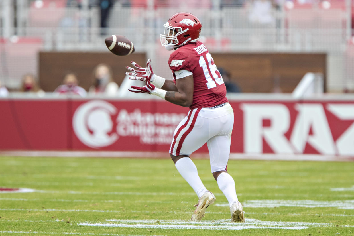 Treylon Burks made plenty of plays for Arkansas in his first two college seasons.  (Photo by Wesley Hitt/Getty Images)