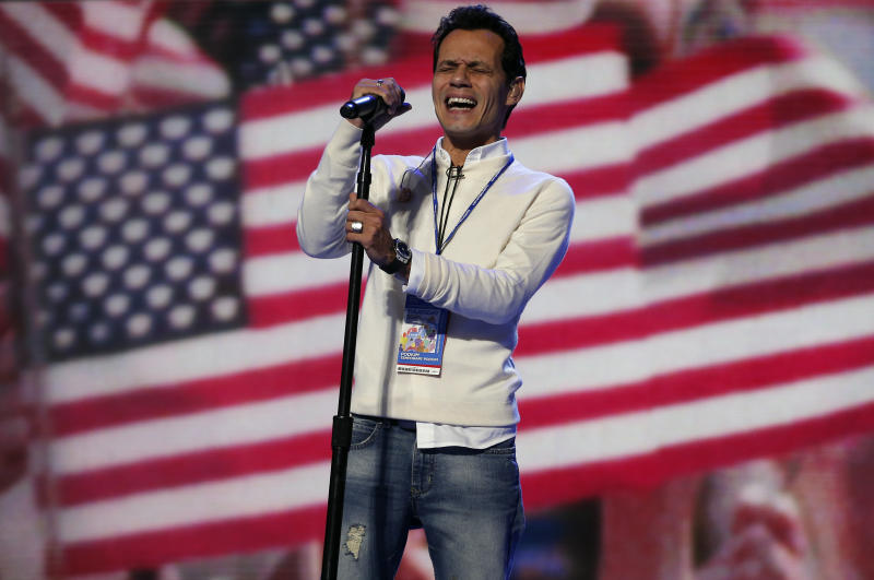 Singer Marc Anthony rehearses the national anthem prior to the final session of the Democratic National Convention in 2012. (Jim Young / Reuters)