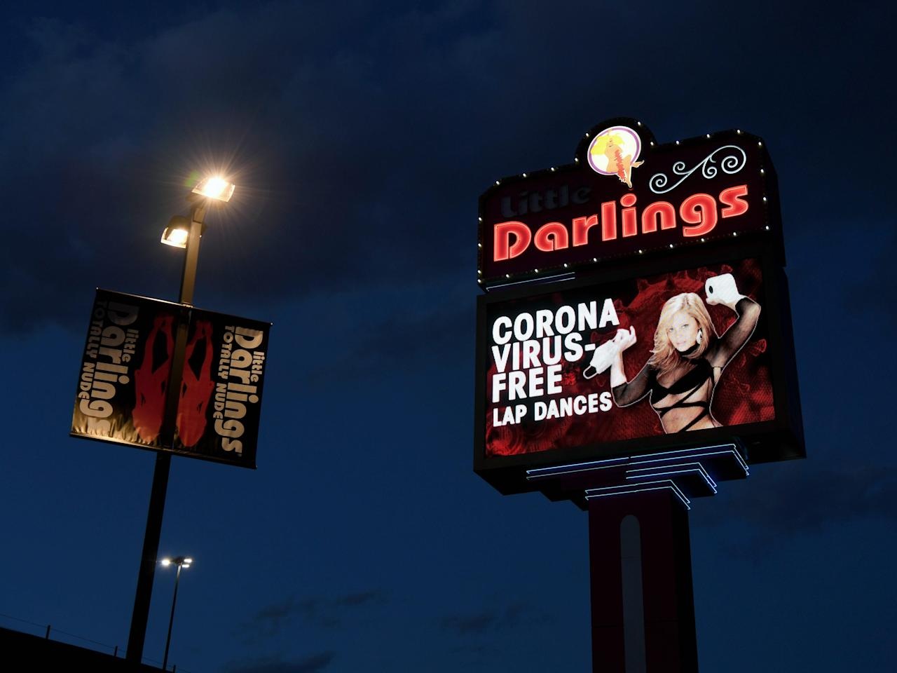 A Las Vegas strip club is offering drive-thru shows, nude hand sanitizer wrestling, and 'coronavirus-free' lap dances