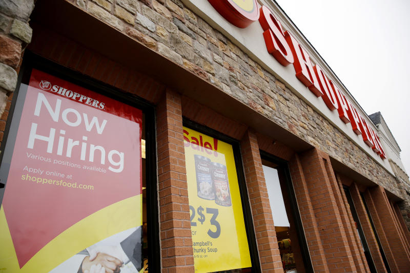 A now hiring sign is seen at the Shoppers supermarket in Olney, Maryland January 7, 2016. Shoppers supermarket is part of the SuperValu Inc network of stores. Picture taken January 7, 2016. REUTERS/Gary Cameron