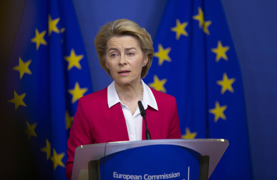 European Commission President Ursula von der Leyen speaks during a media conference after an extraordinary meeting of the EU college of commissioners at EU headquarters in Brussels, Wednesday, Jan. 8, 2020. European Union foreign policy chief Josep Borrell briefed the college on Wednesday regarding the current situation in Libya and Iran. (AP Photo/Virginia Mayo)