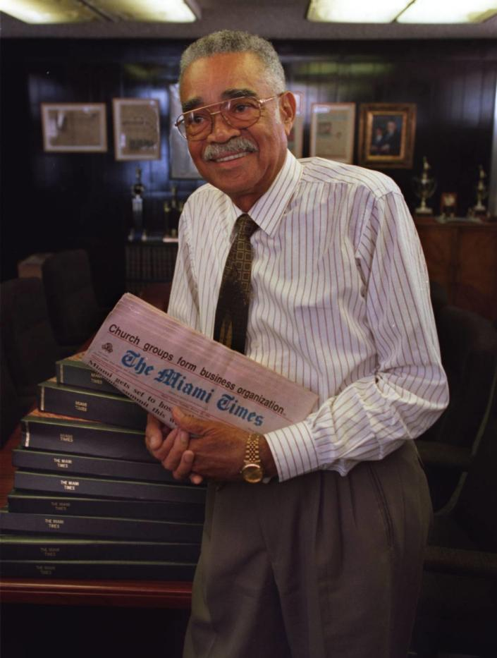 Garth Reeves, publisher of The Miami Times, in February 1996.