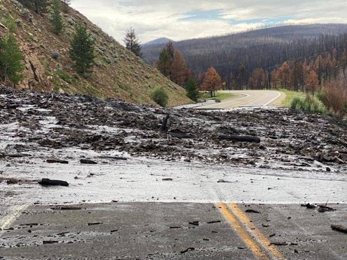 A mudslide in Colorado triggered by heavy rains during the state's monsoon season.  (Grand County Sheriff's Office)