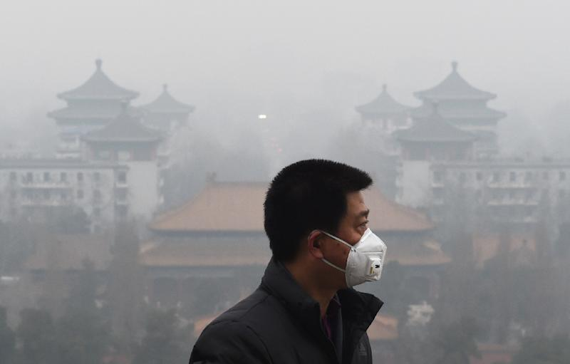 A man wears a mask to protect himself from air pollution in Beijing on December 8, 2015 (AFP Photo/Greg Baker)