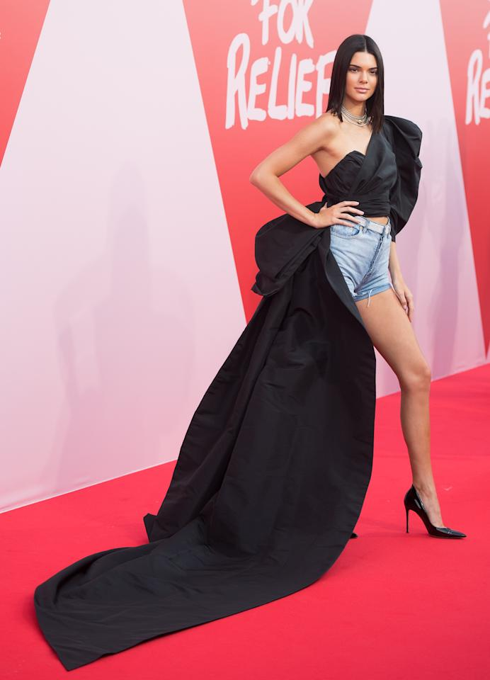 Kendall Jenner on the red carpet at the Cannes Film Festival's Fashion for Relief event in May 2017.