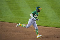 Oakland Athletics' Tony Kemp runs the bases after hitting a three-run home run during the sixth inning of the team's baseball game against the New York Yankees on Friday, June 18, 2021, in New York. (AP Photo/Frank Franklin II)