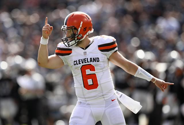 <p>Baker Mayfield #6 of the Cleveland Browns reacts after the Browns scored a two-point conversion against the Oakland Raiders at Oakland-Alameda County Coliseum on September 30, 2018 in Oakland, California. (Photo by Ezra Shaw/Getty Images) </p>