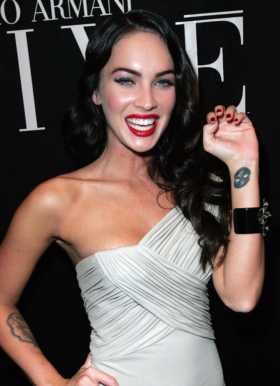 <p>On the inside of Fox's left wrist is a thick black tattoo of waves that form a yin-yang symbol. It's unknown exactly when she got it, but she's had it for more than a decade.</p>