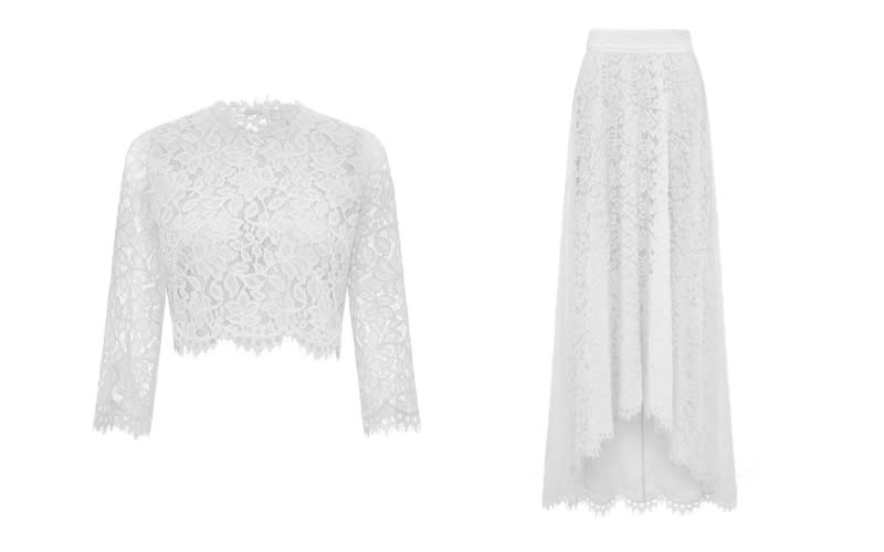 """<p>Introducing the bridal co-ord, the perfect option for those hoping to flex their sartorial muscles on the big day. <em><a rel=""""nofollow noopener"""" href=""""https://www.whistles.com/women/whistles-wedding/wedding-dresses/ariane-lace-wedding-co-ord-29467.html?cgid=Bridal_Wedding_WW&dwvar_ariane-lace-wedding-co-ord-29467_color=Ivory%2FMulti#start=0"""" target=""""_blank"""" data-ylk=""""slk:Shop now"""" class=""""link rapid-noclick-resp"""">Shop now</a></em>. </p>"""